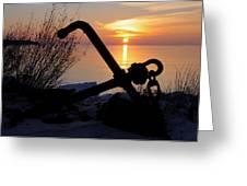 Anchor At Sunrise Greeting Card by Sandra Updyke
