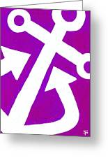 Anchor-magenta Greeting Card by Catherine Peters