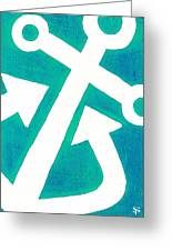 Anchor-turquiose Greeting Card by Catherine Peters