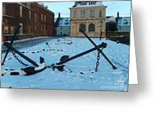 Anchored In Snow Greeting Card by Derek Knight