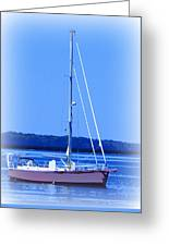 Anchored In The Bay Greeting Card by Laurie Pike