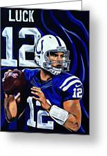 Andrew Luck Greeting Card by Chris Eckley