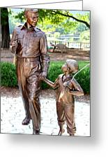 Andy And Opie Statue Nc Greeting Card by Frank Savarese