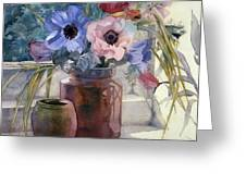 Anemones Greeting Card by Julia Rowntree