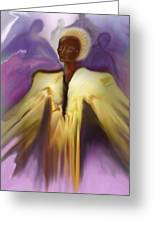 Angel And Guides Greeting Card by Linda Marcille