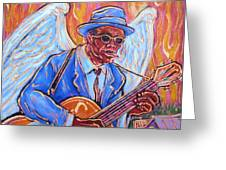 Angel Of The Blues Greeting Card by Robert Ponzio