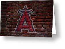 Angels Baseball Graffiti on Brick  Greeting Card by Movie Poster Prints