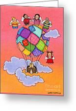 Angels With Hot Air Balloon Greeting Card by Sarah Batalka