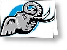 Angry African Elephant Head Retro Greeting Card by Aloysius Patrimonio