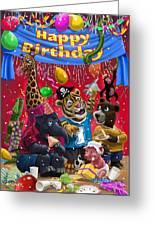 Animal Birthday Party Greeting Card by Martin Davey