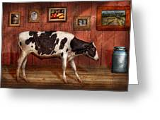 Animal - The Cow Greeting Card by Mike Savad