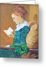 Anna Reading Greeting Card by Janina  Suuronen