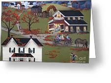 Annual Barn Dance And Hayride Greeting Card by Catherine Holman