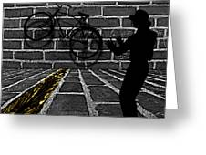 Another Bike On The Wall Greeting Card by Barbara St Jean
