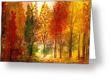 Another View Of Autumn Hideaway Greeting Card by Anne-Elizabeth Whiteway