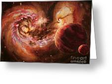 Antennae Galaxies And Planets Greeting Card by Arwen De Lyon