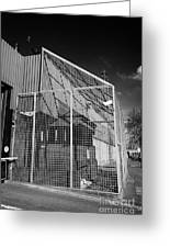 anti rpg cage surrounding observation sanger at North Queen Street PSNI police station Belfast North Greeting Card by Joe Fox