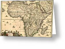 Antique Africa Map Greeting Card by Gary Grayson