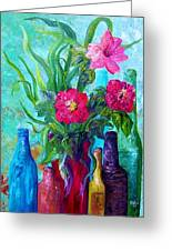 Antique Bottles And Flowers Greeting Card by Eloise Schneider