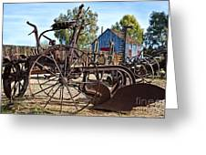 Antique Farm Equipment End Of Row Greeting Card by Lee Craig