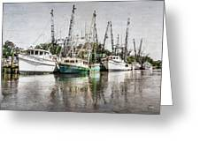 Antique Fishing Boats Greeting Card by Debra and Dave Vanderlaan