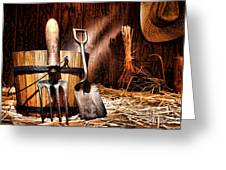 Antique Gardening Tools Greeting Card by Olivier Le Queinec
