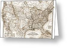 Antique Map 1853 United States Of America Greeting Card by Dan Sproul