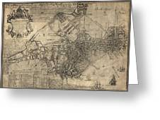 Antique Map Of Boston By William Price - 1769 Greeting Card by Blue Monocle