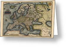 Antique Map Of Europe By Abraham Ortelius - 1570 Greeting Card by Blue Monocle