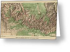 Antique Map Of Grand Canyon National Park By The National Park Service - 1926 Greeting Card by Blue Monocle
