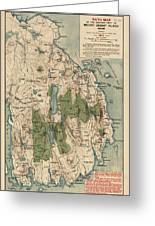 Antique Map Of Mount Desert Island - Acadia National Park - By Waldron Bates - 1911 Greeting Card by Blue Monocle