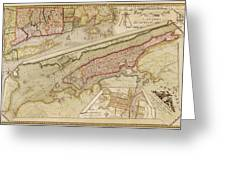 Antique Map Of New York City By John Randel - 1821 Greeting Card by Blue Monocle
