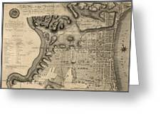 Antique Map Of Philadelphia By John Hills - 1797 Greeting Card by Blue Monocle