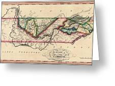 Antique Map Of Tennessee By Samuel Lewis - Circa 1810 Greeting Card by Blue Monocle