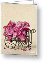 Antique Rose Cart Greeting Card by Edward Fielding