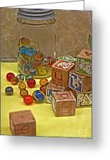 Antique Toys Greeting Card by Valerie Garner