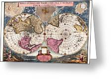 Antique World Map 1695 Novus Planiglobii Terrestris Per Utrumque Polum Conspectus Greeting Card by Karon Melillo DeVega