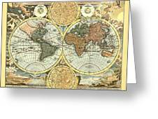 Antique World Mercator Map Greeting Card by Gary Grayson