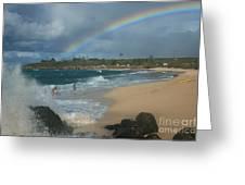 Anuenue - Aloha Mai E Hookipa Beach Maui Hawaii Greeting Card by Sharon Mau