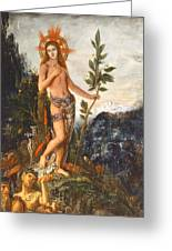 Apollo Receiving The Shepherds Offerings Greeting Card by Gustave Moreau