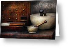 Apothecary - Pestle and Drawers Greeting Card by Mike Savad