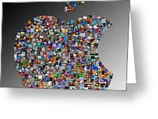 Apple Mosaic On Gradient Greeting Card by Yury Malkov