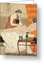 Application Of White Egyptian Perfume To The Hip Greeting Card by Joseph Kuhn-Regnier