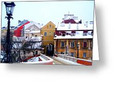 Approaching Old City Wall / Lublin Poland Greeting Card by Rick Todaro