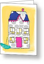 April Showers House Greeting Card by Linda Woods