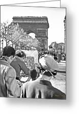 Arc De Triomphe Painter - B W Greeting Card by Chuck Staley
