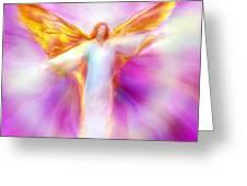 Archangel Sandalphon in Flight Greeting Card by Glenyss Bourne