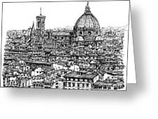 Architecture Of Florence Skyline In Ink  Greeting Card by Adendorff Design