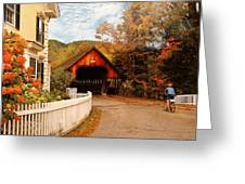 Architecture - Woodstock Vt - Entering Woodstock Greeting Card by Mike Savad