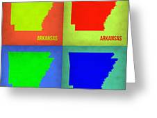 Arkansas Pop Art Map 1 Greeting Card by Naxart Studio
